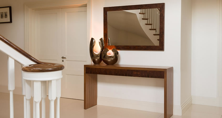 Walnut Console with drawers Console Table and mirror